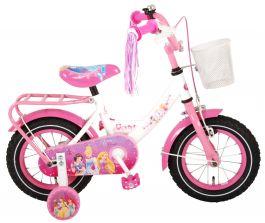 Disney Princess Meisjesfiets 12 inch - Wit Roze