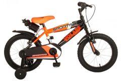 Volare Sportivo Kinderfiets - Jongens - 16 inch - Neon Oranje Zwart - Twee Handremmen - 95% afgemonteerd